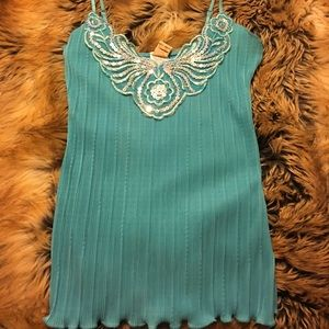 topaz Tops - 🌷Topaz Sequined Camisole NWT XS Turquoise